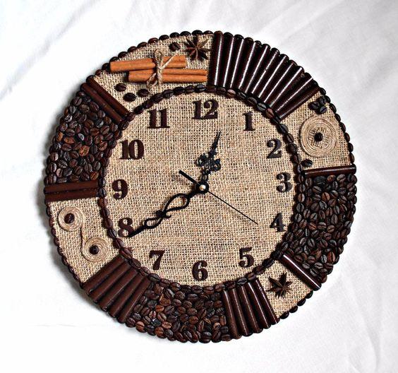 Ideas de decoraci n y manualidades con caf - Manualidades relojes de pared ...