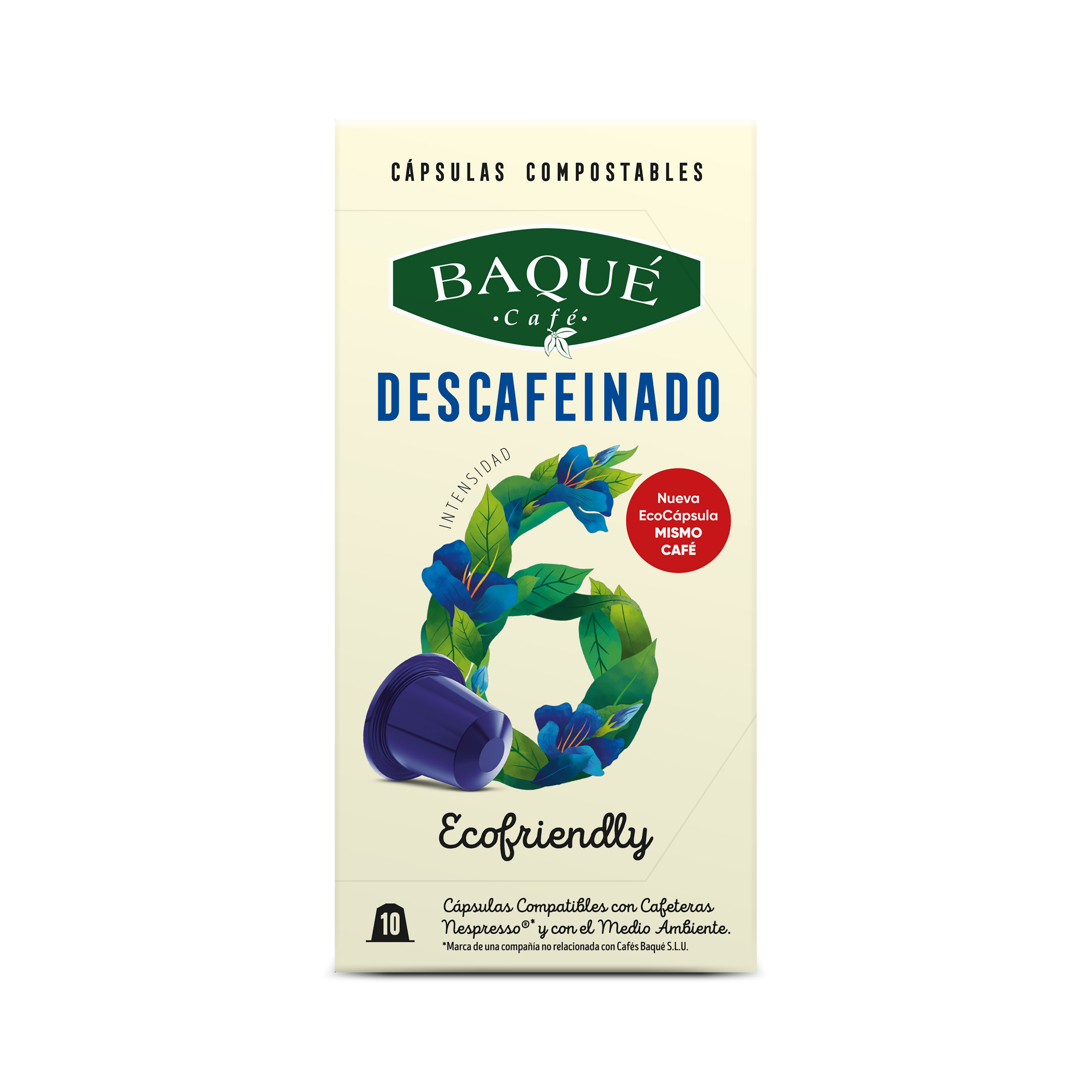 Descafeinado 10 cápsulas Compostables compatibles Nespresso®