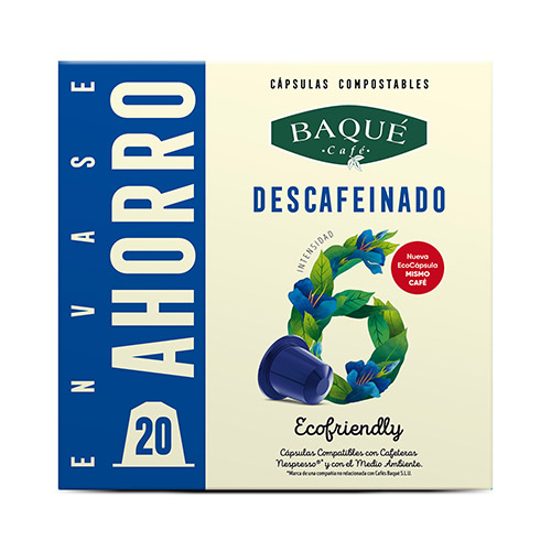 Descafeinado 20 cápsulas compostables compatibles NESPRESSO®